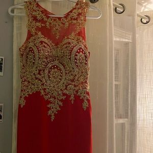 Red and Gold Jovani Dress